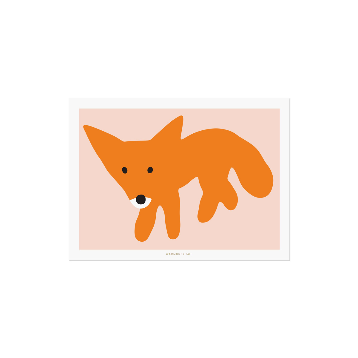 RED FOX PINK POSTCARD