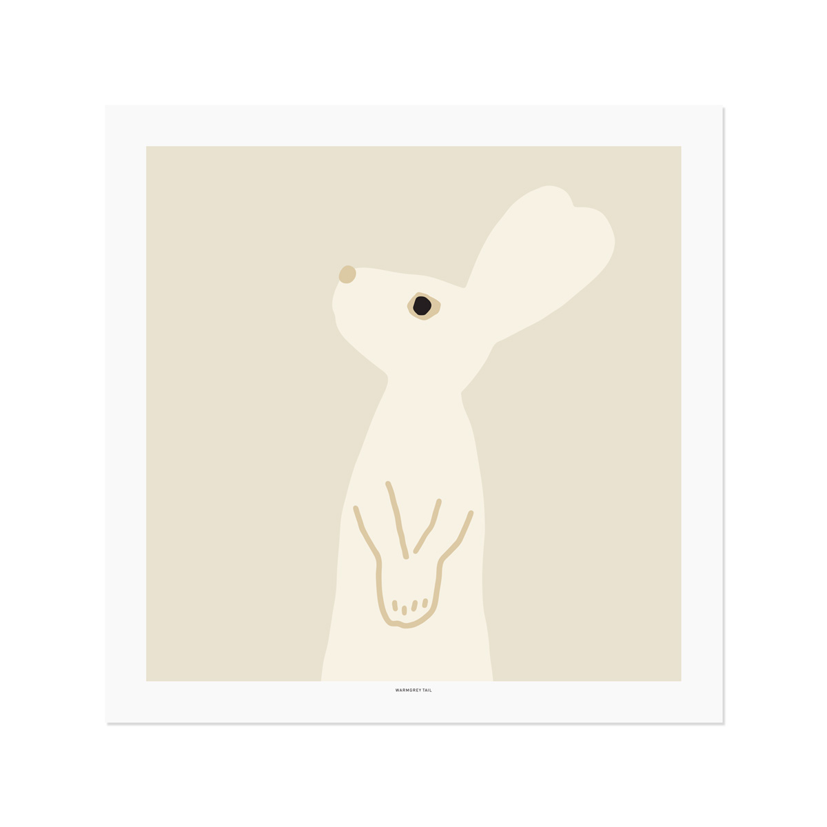 HEART RABBIT SQUARE - BEIGE POSTER