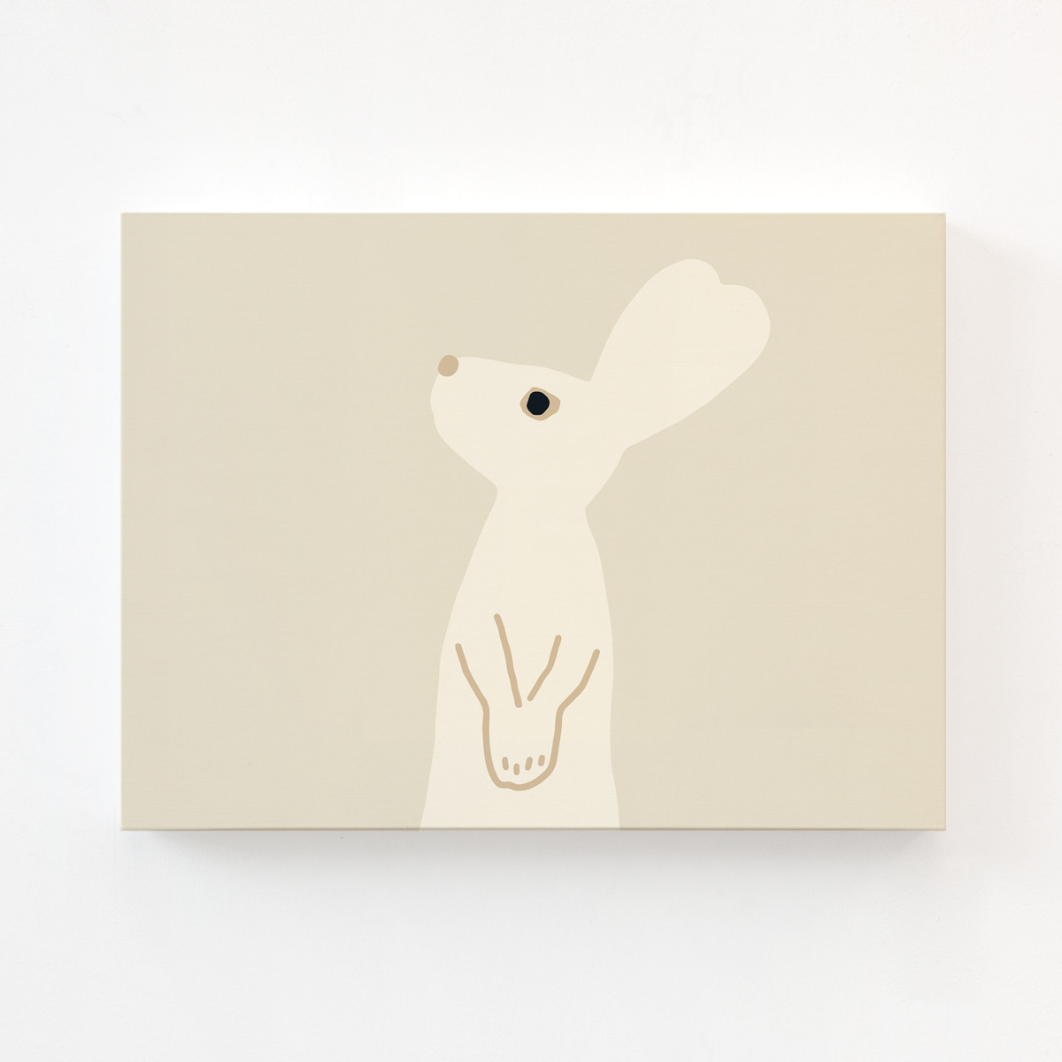 HEART RABBIT CANVAS - BEIGE