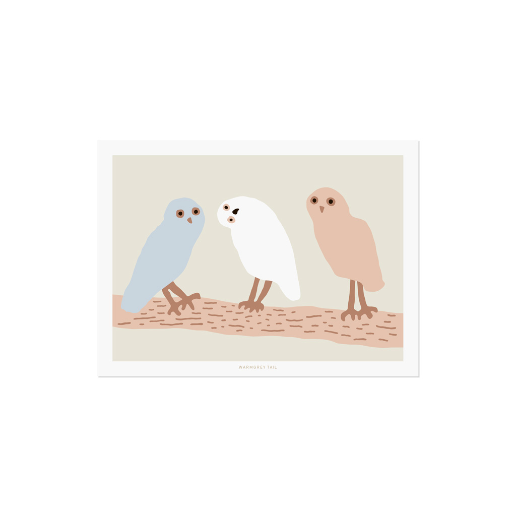 HELLO OWLS - LIGHT GREY POSTCARD