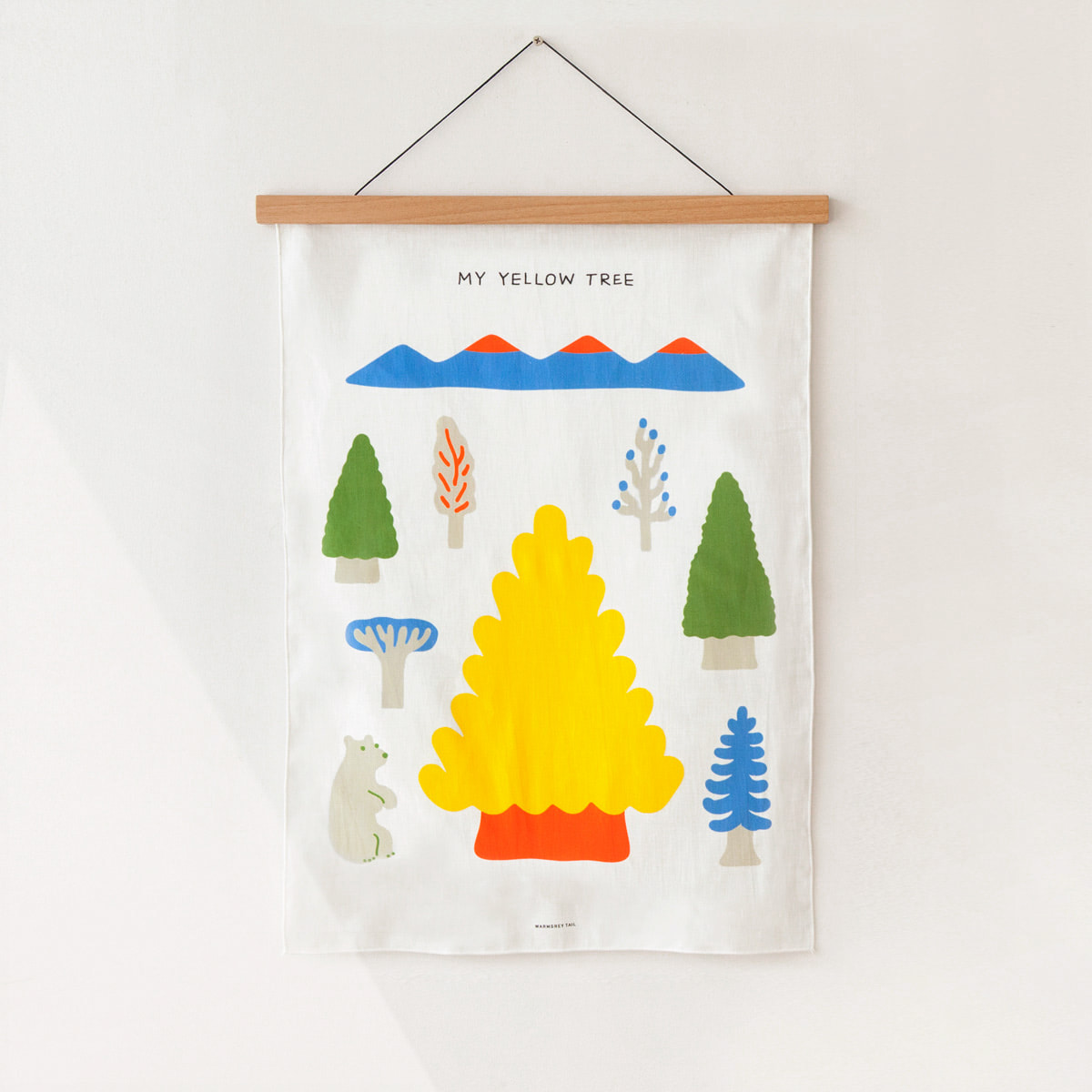 MY YELLOW TREE- BLUE FABRIC POSTER
