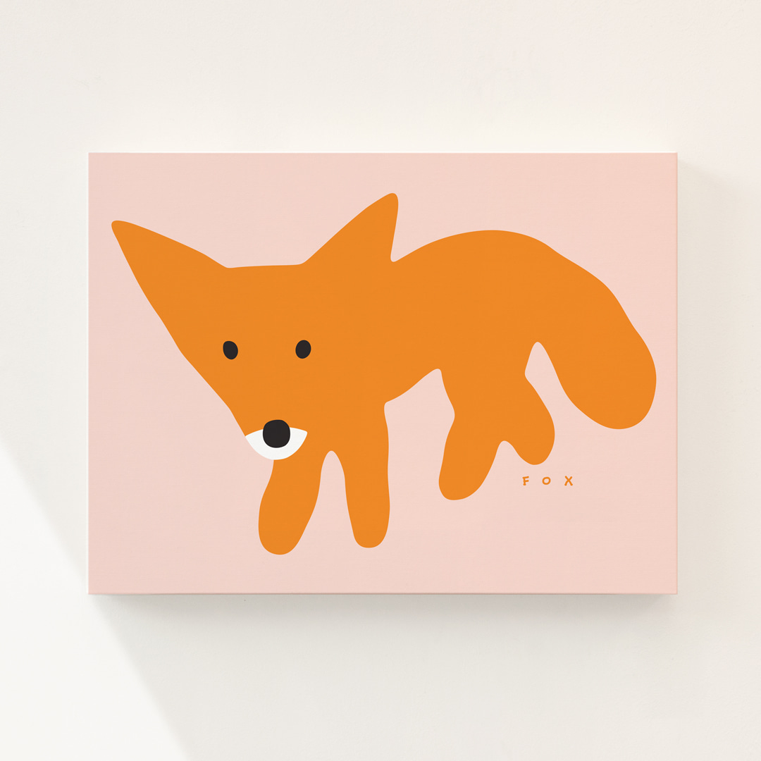 RED FOX - PINK CANVAS