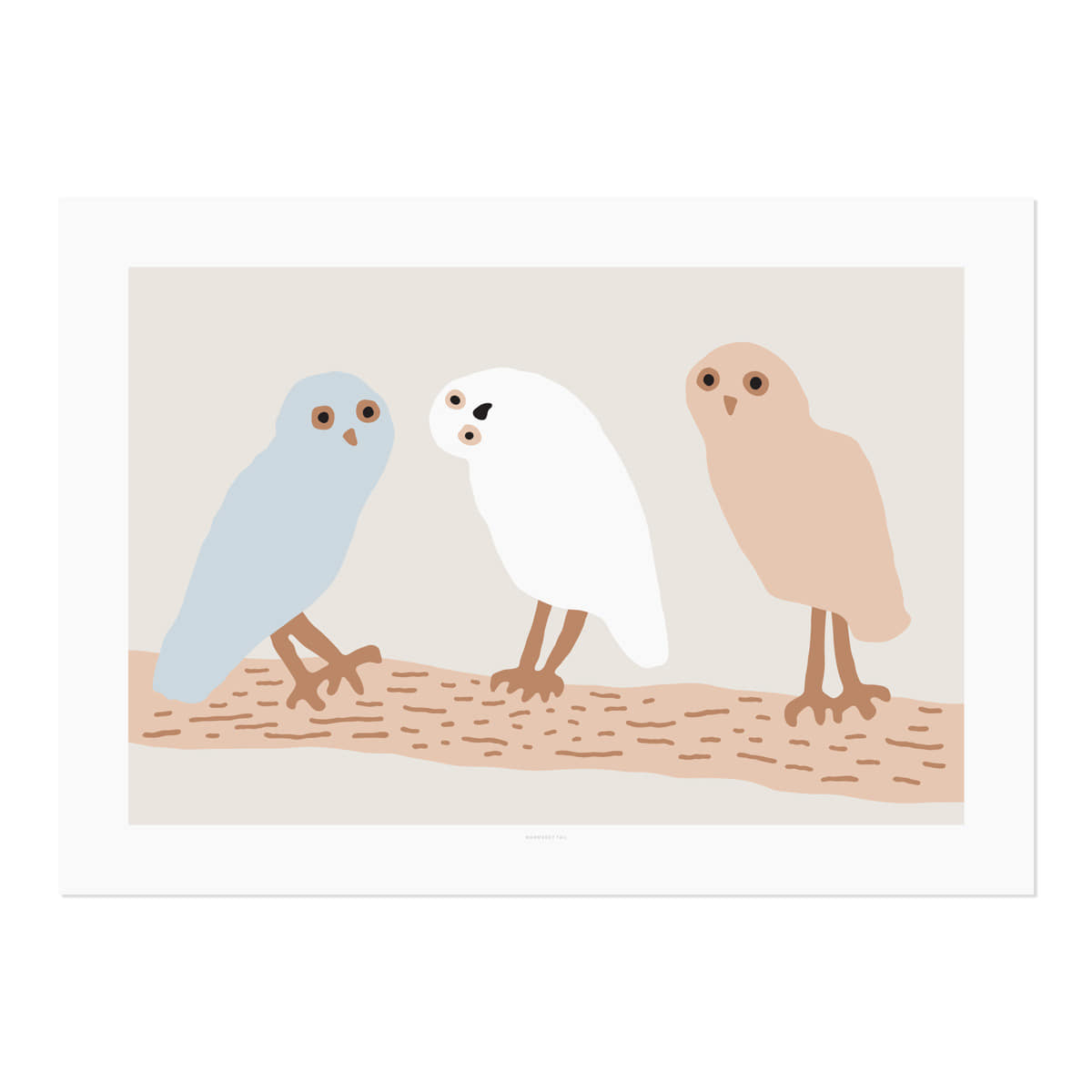 HELLO OWLS - LIGHT GREY POSTER