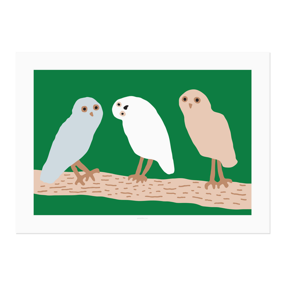 HELLO OWLS - GREEN POSTER